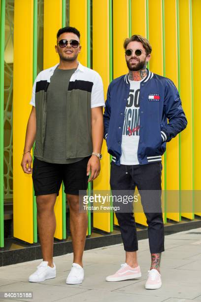 Nathan Henry and Aaron Chalmers attend the Geordie Shore series 15 premiere photocall at MTV London on August 29 2017 in London England