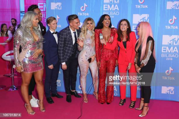 Nathan Henry guest Sam Gowland Chloe Ferry Abbie Holborn guest and Sophie Kasaei attend the MTV EMAs 2018 at Bilbao Exhibition Centre on November 4...