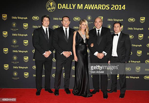 Nathan Hindmarsh Bryan Fletcher Lara Pitt Gordon Tallis and Matt Johns arrive at the Dally M Awards at Star City on September 29 2014 in Sydney...