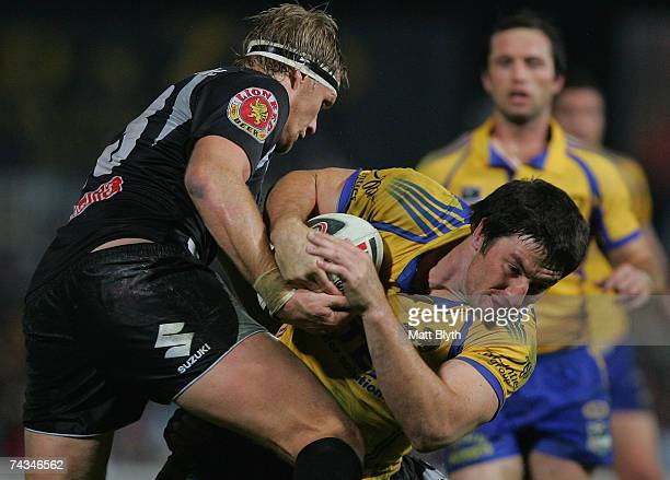Nathan Hindmarsh of the Eels is tackled during the round 11 NRL match between the Parramatta Eels and the Warriors at Parramatta Stadium May 28 2007...