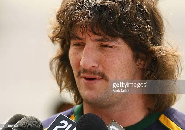 Nathan Hindmarsh of the Kangaroos speaks to the media before the Australian Kangaroos training session at Kogarah Oval on October 30 2006 in Sydney...