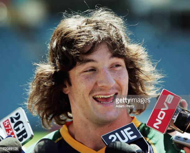 Nathan Hindmarsh of the Kangaroos speaks to the media during the Australian Kangaroos squad assembly prior to the TriNations Series at Aussie Stadium...