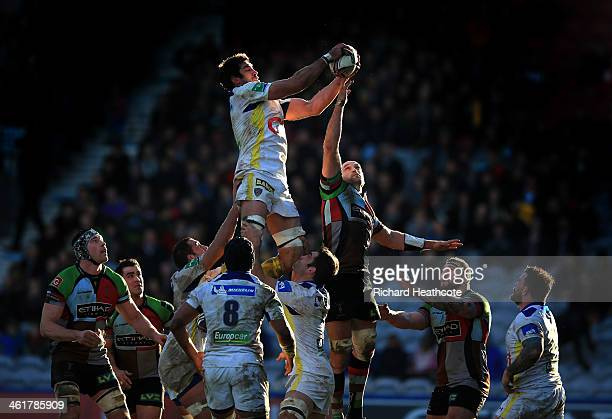 Nathan Hines of Clermont claims a lineout during the Heineken Cup match between Harlequins and Clermont Auvergne at the Twickenham Stoop on January...