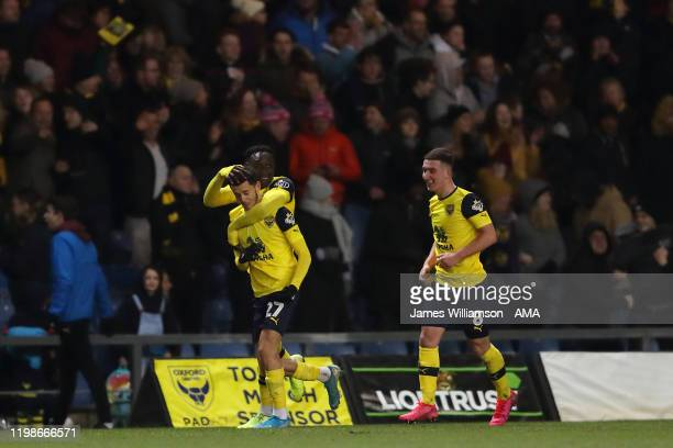 Nathan Holland of Oxford United celebrates after scoring a goal to make it 2-2 during the FA Cup Fourth Round Replay match between Oxford United and...
