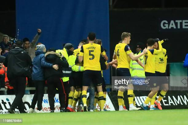 Nathan Holland of Oxford United celebrates scoring his sides equalising goal during the FA Cup Fourth Round replay between Oxford United and...