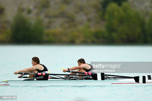 Nathan Honeybone and Jack Delaveau of Blenheim compete in the Boys under15 double sculls final during the South Island Club Championships at Lake...