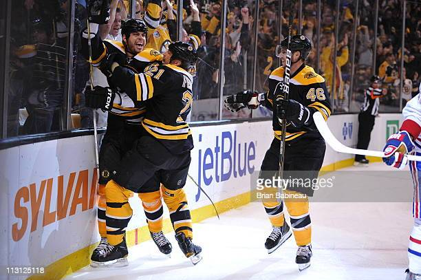 Nathan Horton of the Boston Bruins celebrates his overtime goal against the Montreal Canadiens in Game Five of the Eastern Conference Quarterfinals...