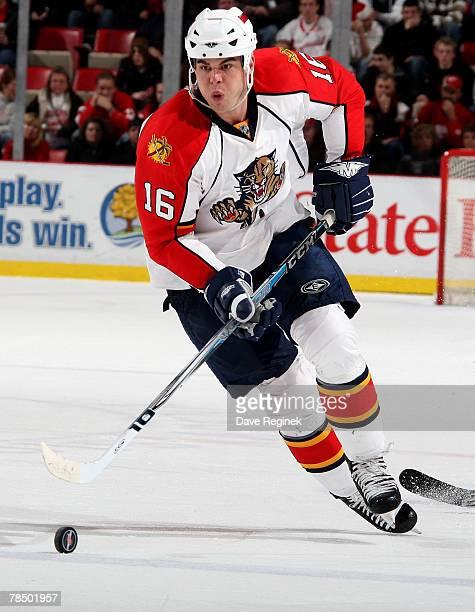 Nathan Horton of the Florida Panthers skates with the puck at Joe Louis Arena December15 2007 in Detroit Michigan