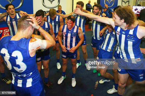 Nathan Hrovat of the Kangaroos celebrates his first win with the club during the round six AFL match between the North Melbourne Kangaroos and the...