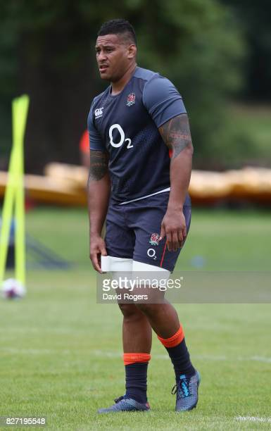 Nathan Hughes looks on during the England training session at the Lensbury Club on August 7 2017 in Teddington England