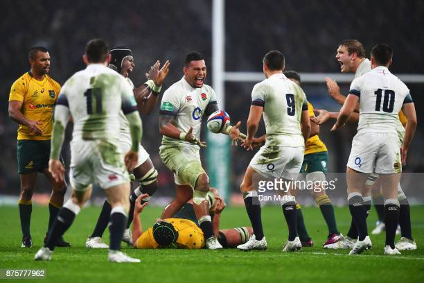 Nathan Hughes of England celebrates a turnover with team mates during the Old Mutual Wealth Series match between England and Australia at Twickenham...
