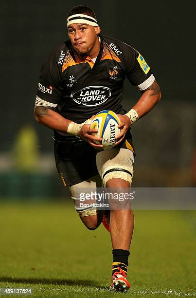 Nathan Hughes of Wasps in action during the Aviva Premiership match between Wasps and London Welsh at Adams Park on November 16, 2014 in High...