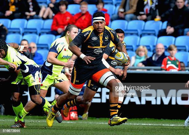 Nathan Hughes of Wasps makes a break during the Aviva Premiership match between Wasps and Sale Sharks at The Ricoh Arena on March 20 2016 in Coventry...