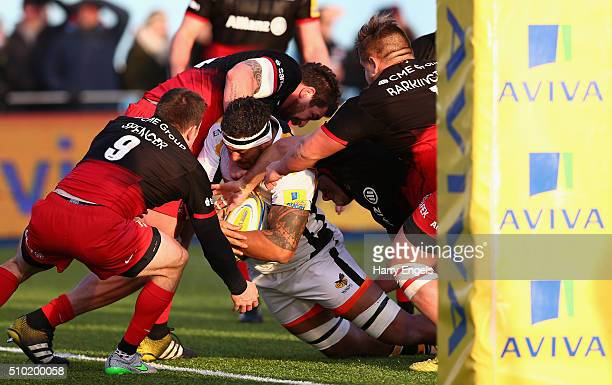 Nathan Hughes of Wasps scores his team's fourth try during the Aviva Premiership match between Saracens and Wasps at Allianz Park on February 14 2016...