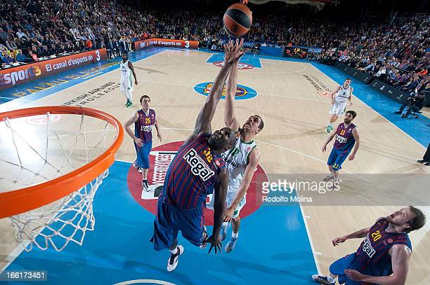 Nathan Jawai, #32 of FC Barcelona Regal competes with Kostas Tsartsaris, #12 of Panathinaikos Athens during the Turkish Airlines Euroleague 2012-2013...