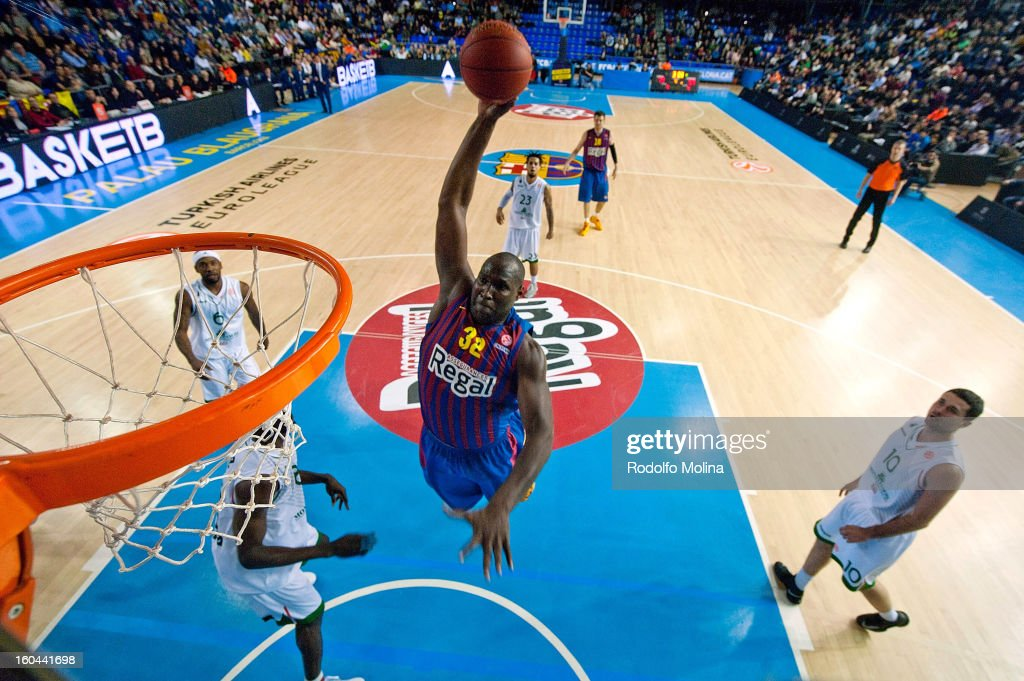 Nathan Jawai, #32 of FC Barcelona Regal in action during the 2012-2013 Turkish Airlines Euroleague Top 16 Date 6 between FC Barcelona Regal v Montepaschi Siena at Palau Blaugrana on January 31, 2013 in Barcelona, Spain.