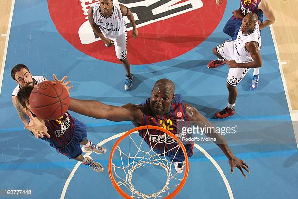 Nathan Jawai #32 of FC Barcelona Regal in action during the 20122013 Turkish Airlines Euroleague Top 16 Date 11 between FC Barcelona Regal v Besiktas...