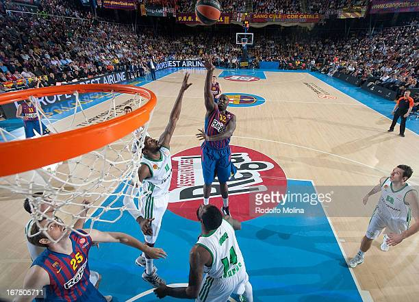 Nathan Jawai #32 of FC Barcelona Regal in action during the Turkish Airlines Euroleague 20122013 Play Offs game 5 between FC Barcelona Regal v...