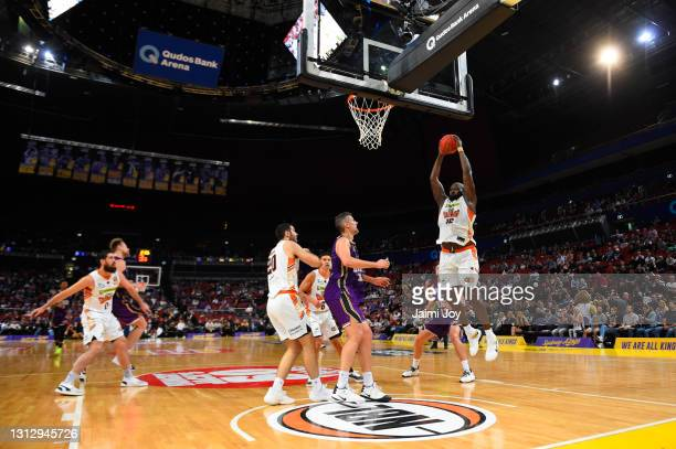Nathan Jawai of Cairns Taipans takes the rebound during the round 14 NBL match between the Sydney Kings and the Cairns Taipans at Qudos Bank Arena,...