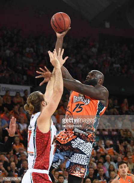 Nathan Jawai of the Taipans attempts a lay up during the round 18 NBL match between the Cairns Taipans and the Illawarra Hawks at the Cairns...