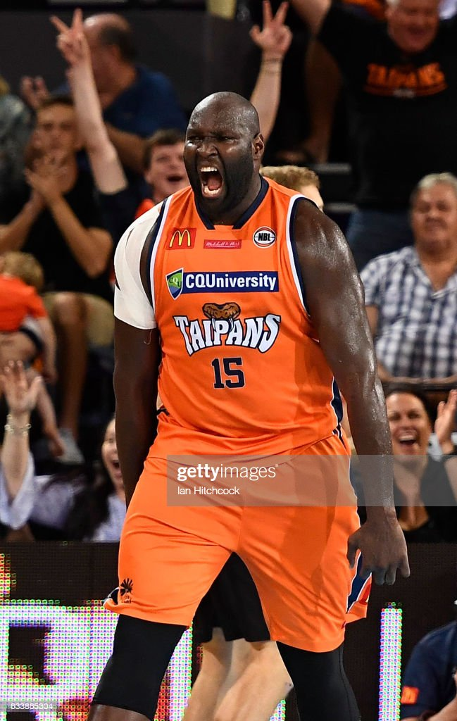 Nathan Jawai of the Taipans celebrates after scoring during the round 18 NBL match between the Cairns Taipans and the Perth Wildcats at the Cairns Convention Centre on February 5, 2017 in Cairns, Australia.