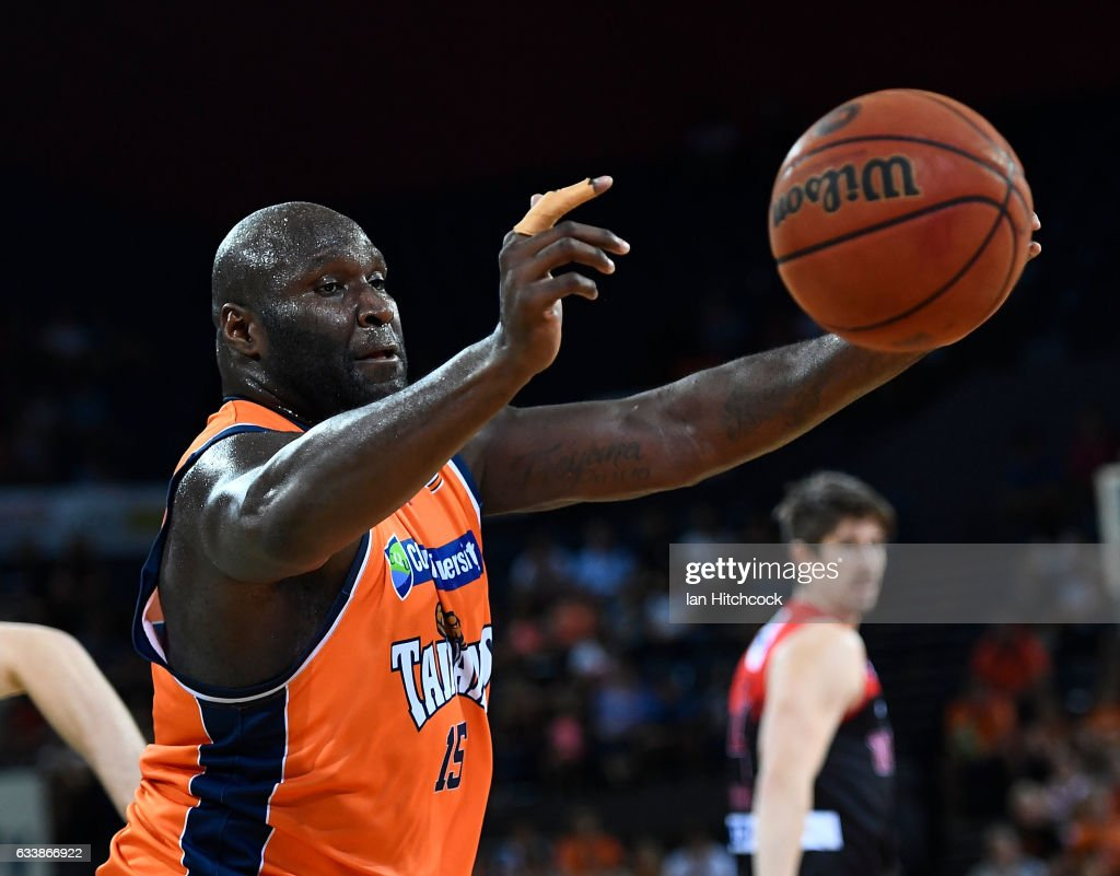 Nathan Jawai of the Taipans collects a rebound during the round 18 NBL match between the Cairns Taipans and the Perth Wildcats at the Cairns Convention Centre on February 5, 2017 in Cairns, Australia.