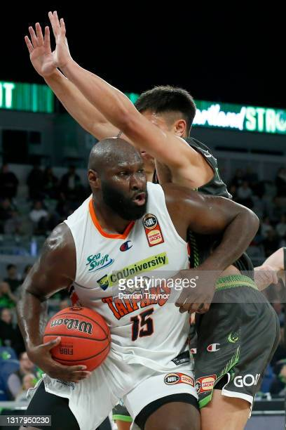 Nathan Jawai of the Taipans drives to the basket during the round 18 NBL match between South East Melbourne Phoenix and Cairns Taipans at John Cain...