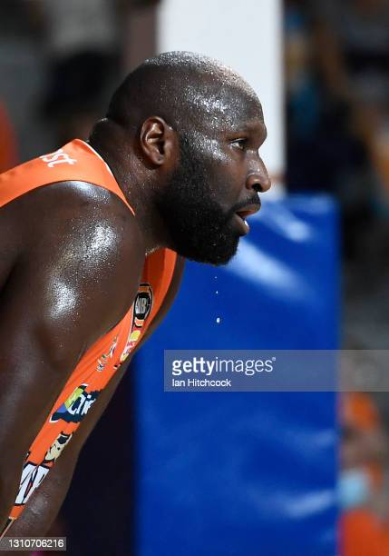 Nathan Jawai of the Taipans looks on during the round 12 NBL match between the Cairns Taipans and Melbourne United at Cairns Pop Up Arena, on April...