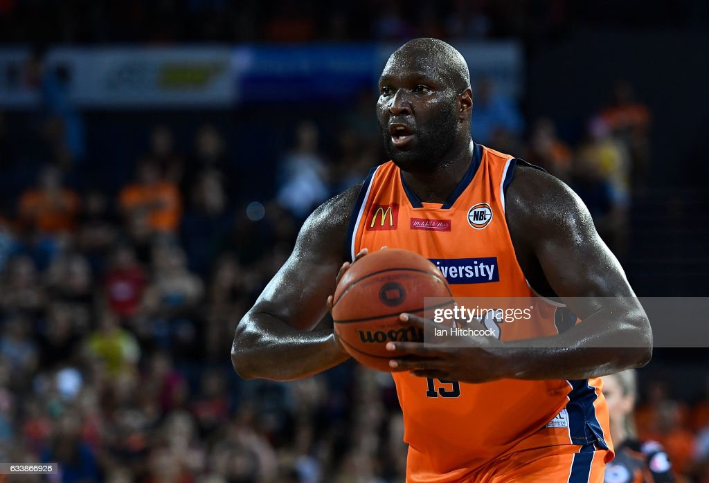 Nathan Jawai of the Taipans looks to pass the ball during the round 18 NBL match between the Cairns Taipans and the Perth Wildcats at the Cairns Convention Centre on February 5, 2017 in Cairns, Australia.