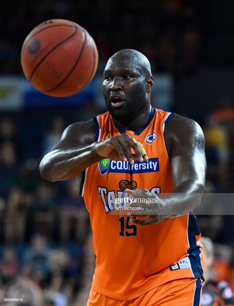 Nathan Jawai of the Taipans passes the ball during the round 18 NBL match between the Cairns Taipans and the Perth Wildcats at the Cairns Convention Centre on February 5, 2017 in Cairns, Australia.