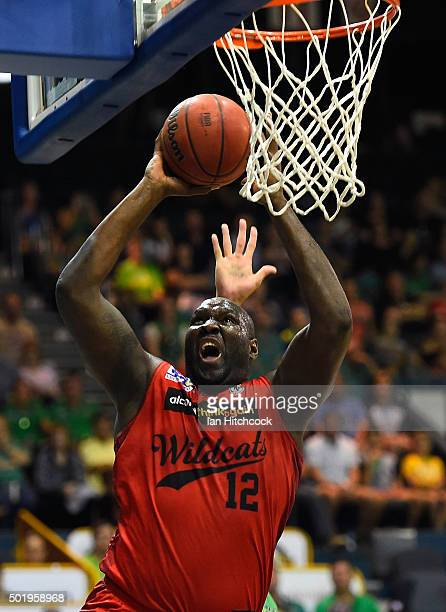 Nathan Jawai of the Wildcats attempts a layup during the round 11 NBL match between the Townsville Crocodiles and the Perth Wildcats on December 19,...