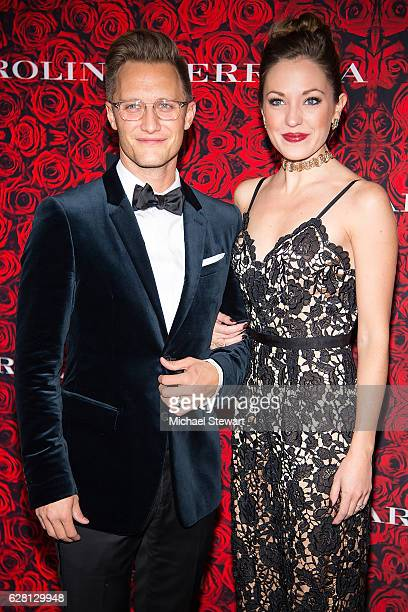 Nathan Johnson and actress Laura Osnes attend an evening honoring Carolina Herrera at Alice Tully Hall at Lincoln Center on December 6 2016 in New...