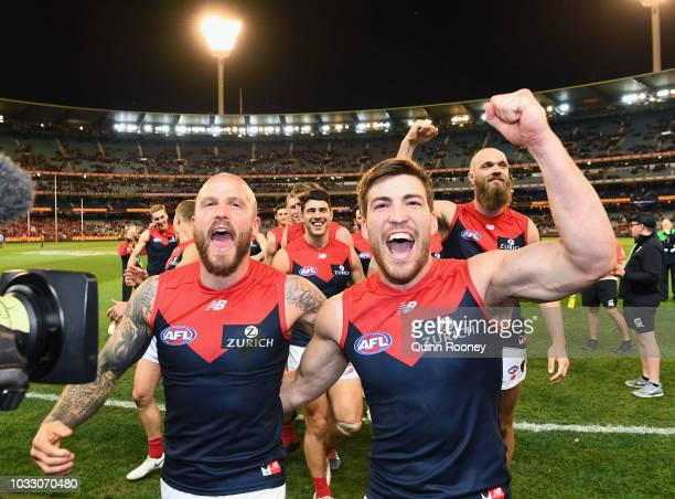 Nathan Jones and Jack Viney of the Demons celebrate winning the AFL Semi Final match between the Hawthorn Hawks and the Melbourne Demons at the...