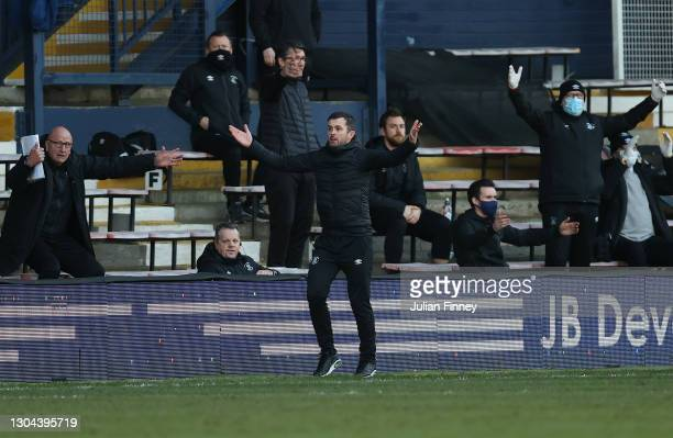 Nathan Jones, manager of Luton Town reacts during the Sky Bet Championship match between Luton Town and Sheffield Wednesday at Kenilworth Road on...