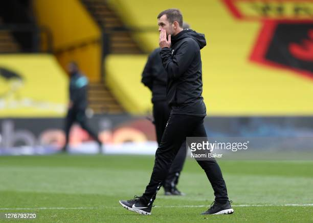 Nathan Jones Manager of Luton Town walks off after the Sky Bet Championship match between Watford and Luton Town at Vicarage Road on September 26...