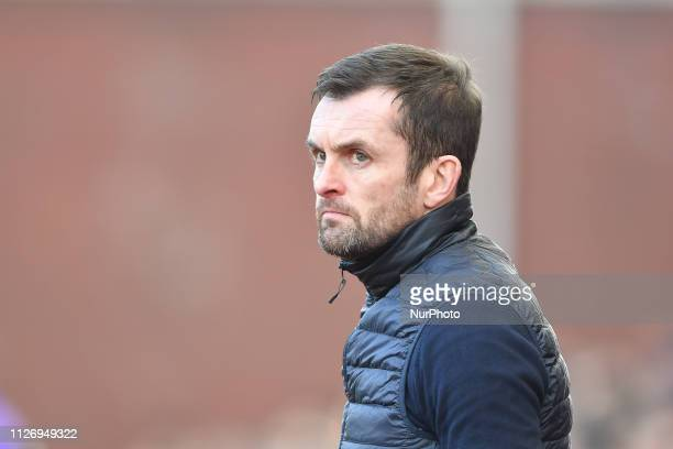 Nathan Jones Manager of Stoke City during the Sky Bet Championship match between Stoke City and Aston Villa at the Britannia Stadium StokeonTrent on...