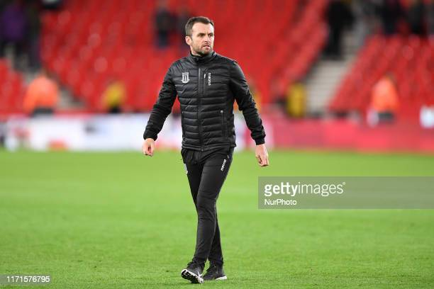Nathan Jones Manager of Stoke City during the Sky Bet Championship match between Stoke City and Nottingham Forest at the BET365 Stadium StokeonTrent...