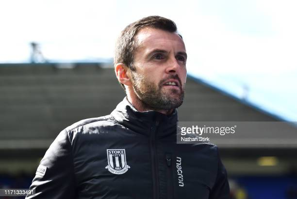 Nathan Jones manager of Stoke City looks on during the Sky Bet Championship match between Birmingham City and Stoke City at St Andrew's Trillion...