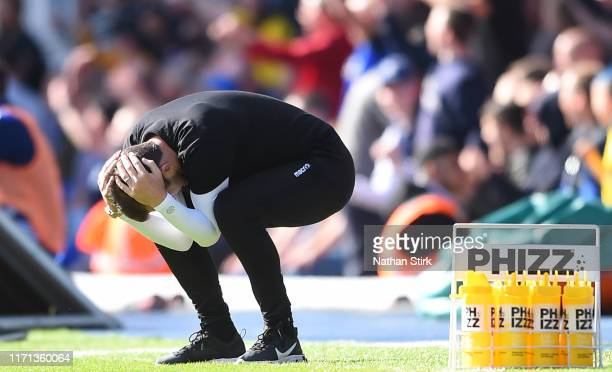 Nathan Jones manager of Stoke reacts during the Sky Bet Championship match between Birmingham City and Stoke City at St Andrew's Trillion Trophy...
