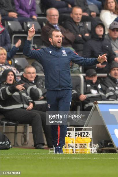 Nathan Jones Manager of Swansea City during the Sky Bet Championship match between Swansea City and Stoke City at the Liberty Stadium on October 05...