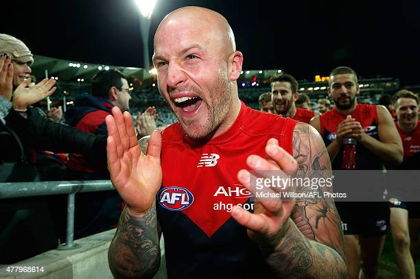 Nathan Jones of the Demons celebrates after the 2015 AFL round twelve match between the Geelong Cats and the Melbourne Demons at Simonds Stadium...