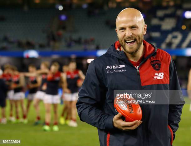 Nathan Jones of the Demons celebrates during the 2017 AFL round 13 match between the Western Bulldogs and the Melbourne Demons at Etihad Stadium on...