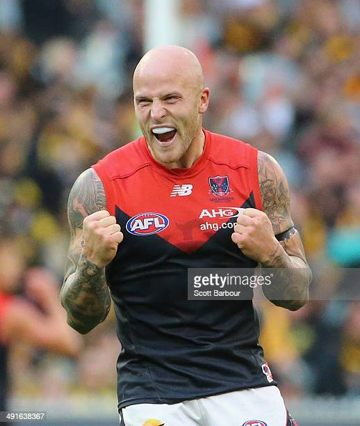 Nathan Jones of the Demons celebrates winning on the final siren during the round nine AFL match between the Richmond Tigers and the Melbourne Demons...