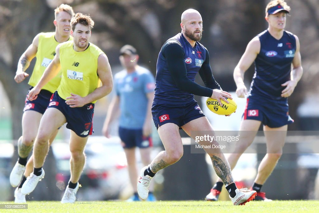 Nathan Jones of the Demons kicks the ball during a Melbourne Demons AFL training session at Gosch's Paddock on September 11, 2018 in Melbourne, Australia.
