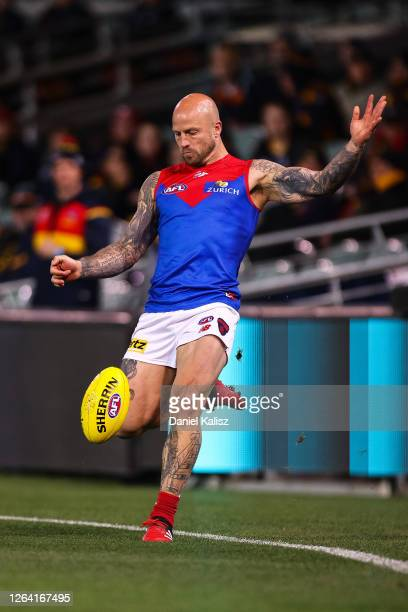 Nathan Jones of the Demons kicks the ball during the round 10 AFL match between the Adelaide Crows and the Melbourne Demons at Adelaide Oval on...