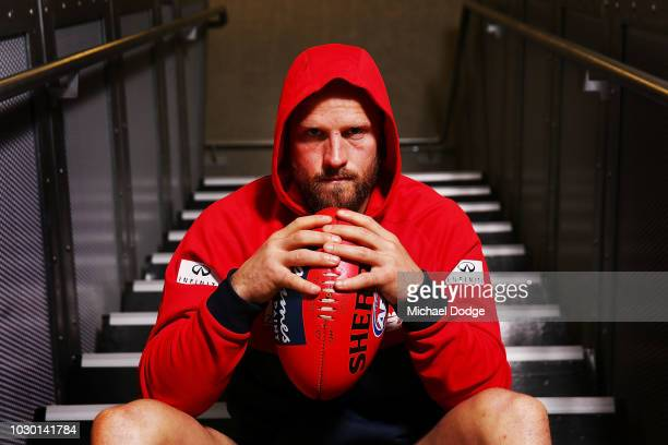 Nathan Jones of the Demons poses during a Melbourne Demons AFL media opportunity at AAMI Park on September 10 2018 in Melbourne Australia