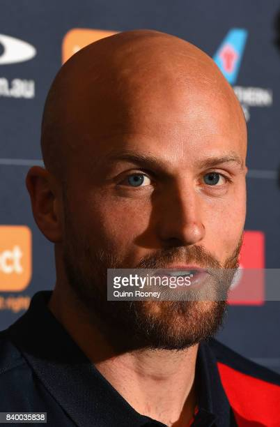 Nathan Jones of the Demons speaks to the media at a Melbourne Demons AFL media opportunity at AAMI Park on August 28 2017 in Melbourne Australia