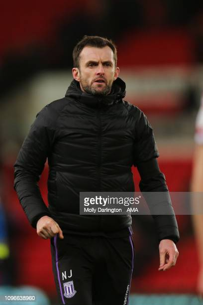 Nathan Jones the head coach / manager of Stoke City during the Sky Bet Championship fixture between StokeCity and West Bromwich Albion at Bet365...