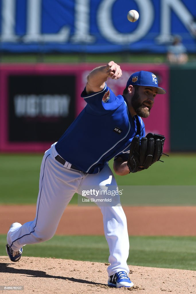 Nathan Karns #55 of the Kansas City Royals pitches against the Chicago Cubs at Surprise Stadium on March 1, 2017 in Surprise, Arizona.