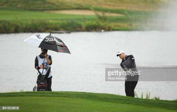 Nathan Kimsey of England chips onto the 9th green during day two of the DD REAL Czech Masters at Albatross Golf Resort on September 1 2017 in Prague...